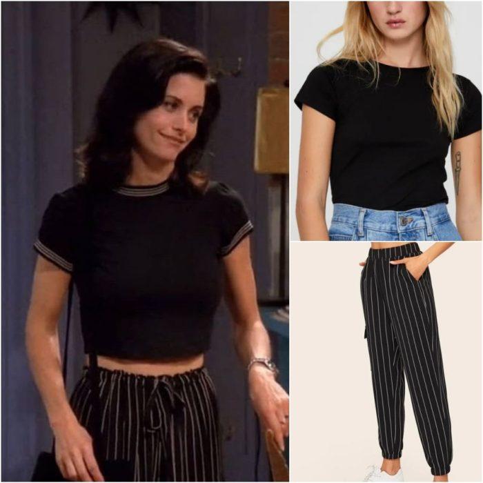 actriz courteney cox como monica geller en la serie friends con un pantalon de rayas y camiseta negra
