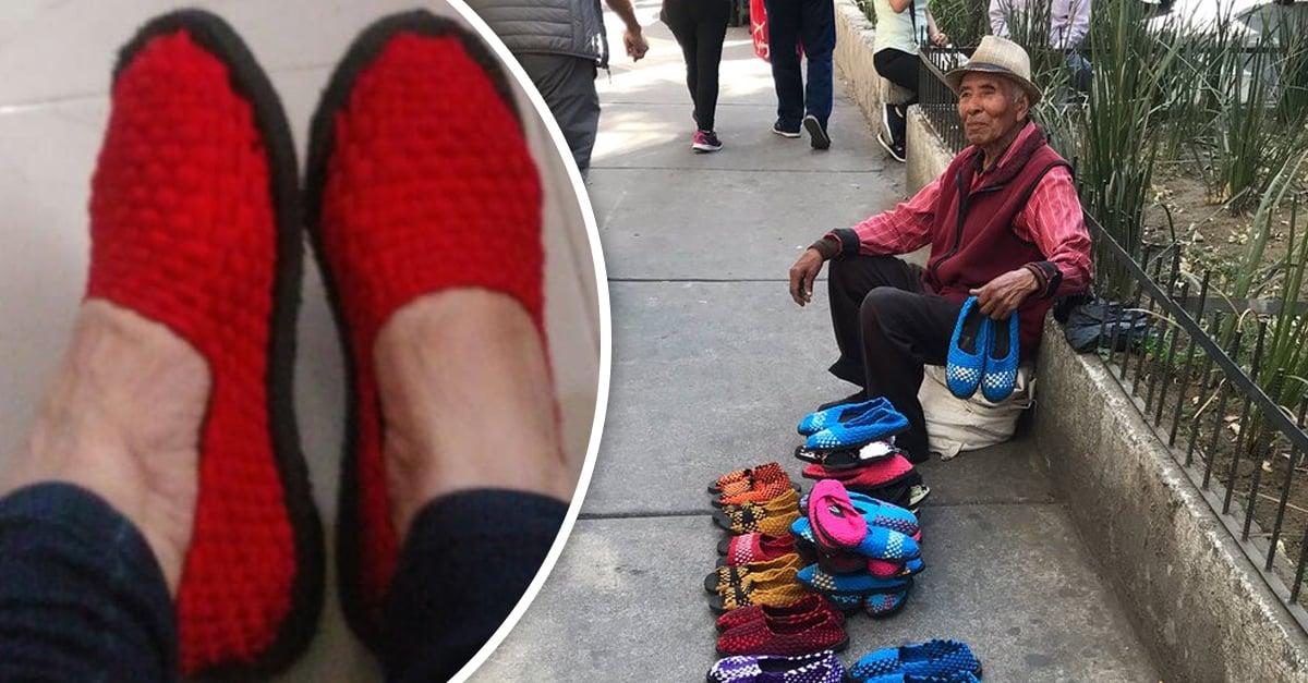 Abuelito pide ayuda para vender los zapatos que teje