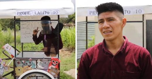 Maestro adapta un triciclo para visitar a los alumnos que no pueden tener clases en línea