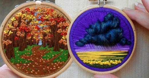 Artista británica plasma su amor por la naturaleza en bordados de colores increíbles