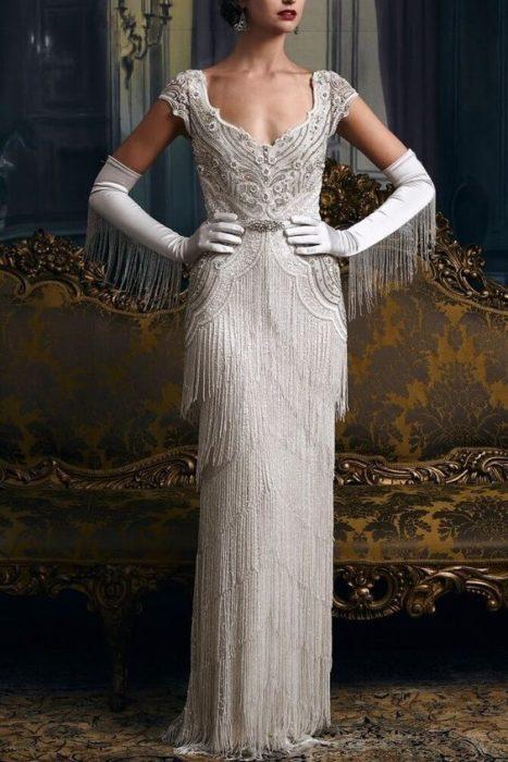 vestido de novia inspirado en los años 20's