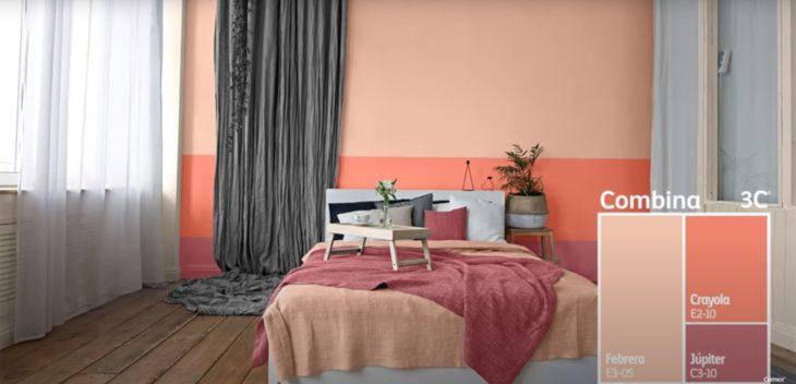 Habitación decorada en tonalidades naranjas y melón