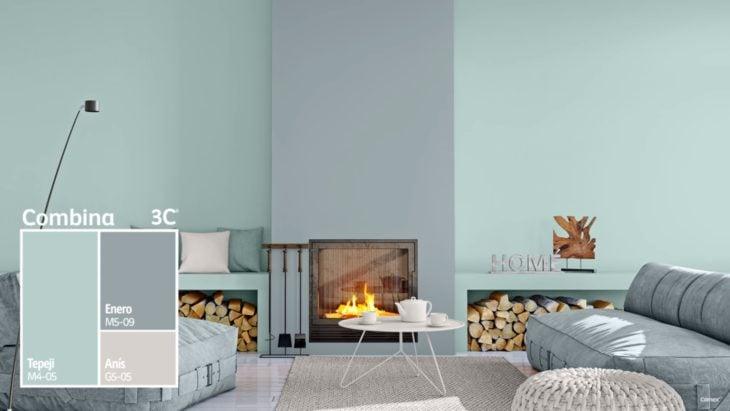 Sala decorada en colores menta y gris