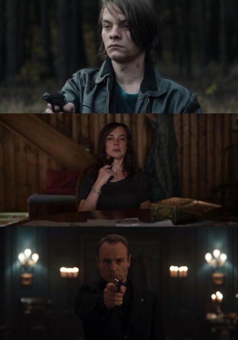 Escenas de la serie Dark con Noah, Hannah y Aleksanser sosteniendo el arma