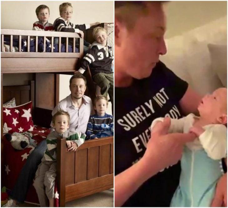 Elon Musk junto a sus seis hijos pequeños