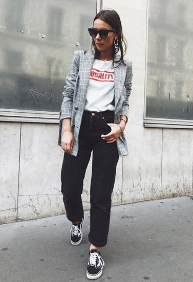 Girl used vans, black jeans, white shirt and gray blazer