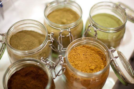Henna powder and different colors for home dye