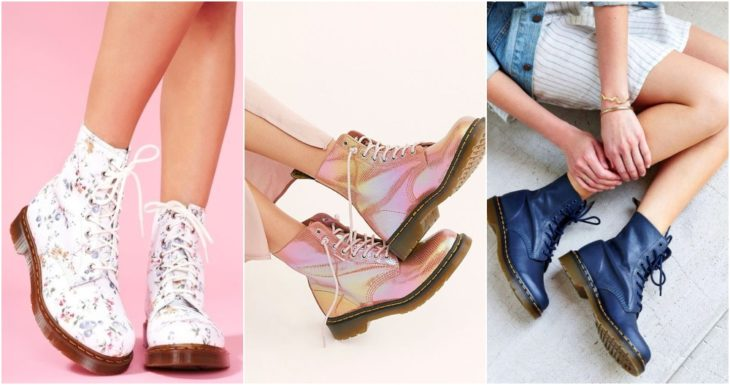 Military style boots in pink, white and blue colors