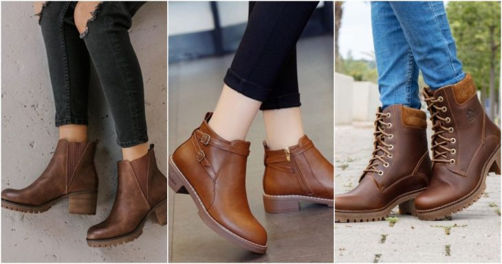 Short brown low-heeled ankle boots