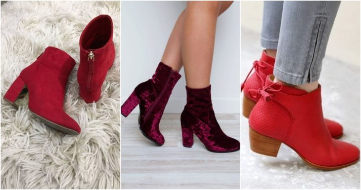 Short ankle boots in red and wine