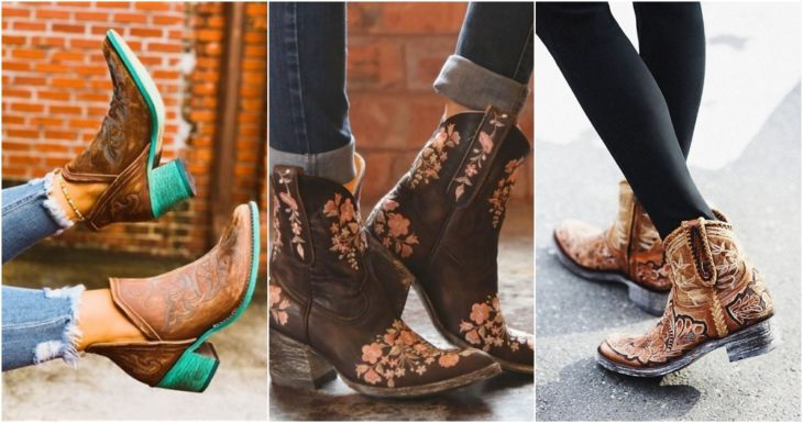 Cowboy boots with embroidered flower decoration