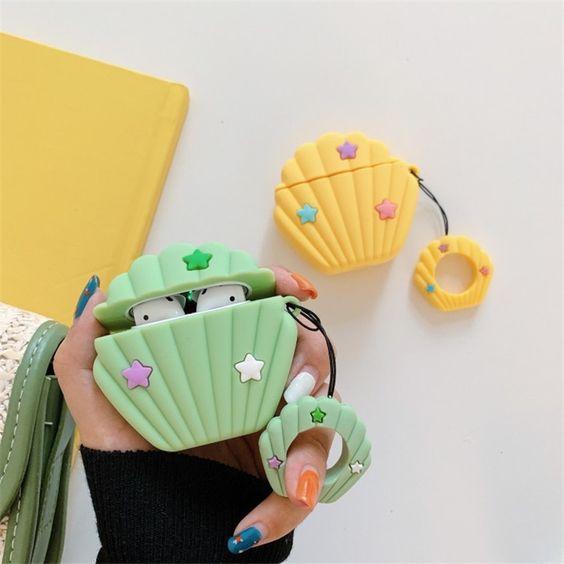 Estuche para audífonos airpods en forma de concha marina