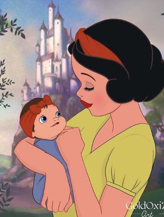 Dibujo de Blancanieves como mamá de La ilustradora rusa Oksana Paschenko