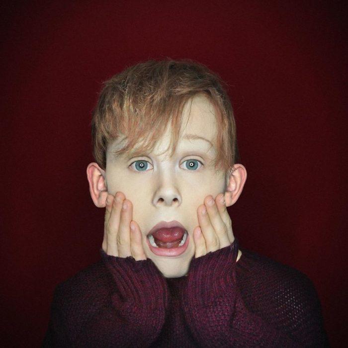 Alex Stone, maquillista, maquillado como Macaulay Culkin