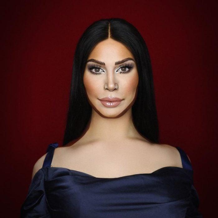 Alex Stone, maquillista, maquillado como Kim Kardashian