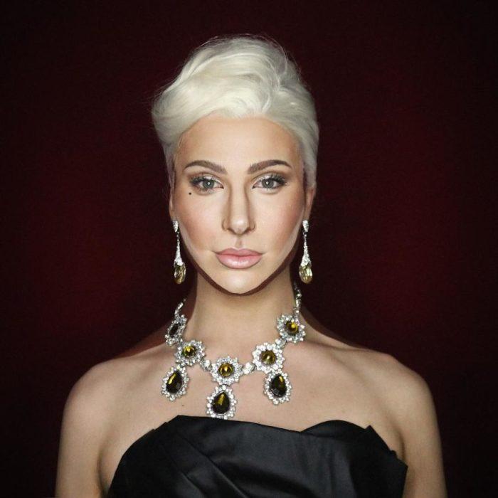 Alex Stone, maquillista, maquillado como Lady Gaga