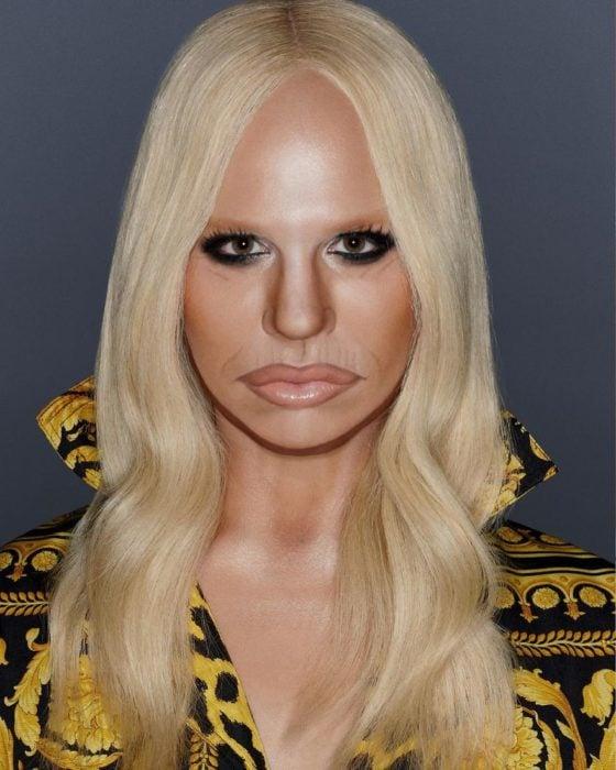 Alex Stone, maquillista, maquillado como Donatella Versace