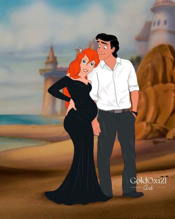 Oksana Pashchenko, artista rusa, reimagina a Ariel princesa Disney como mujer embarazada
