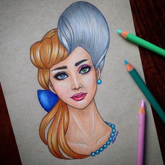 Dibujo realizado por la artista dada16808 combinando a los personajes Disney, Cenicienta y Lady Tremaine