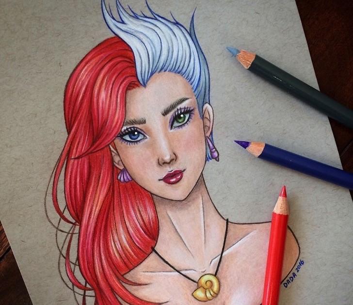 Dibujo realizado por la artista dada16808 combinando a los personajes Disney, Ariel y Úrsula