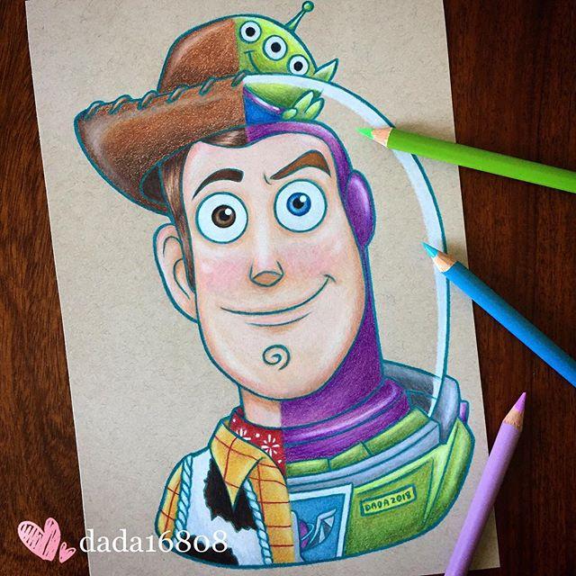 Dibujo realizado por la artista dada16808 combinando a los personajes Disney, Buzz y Woody