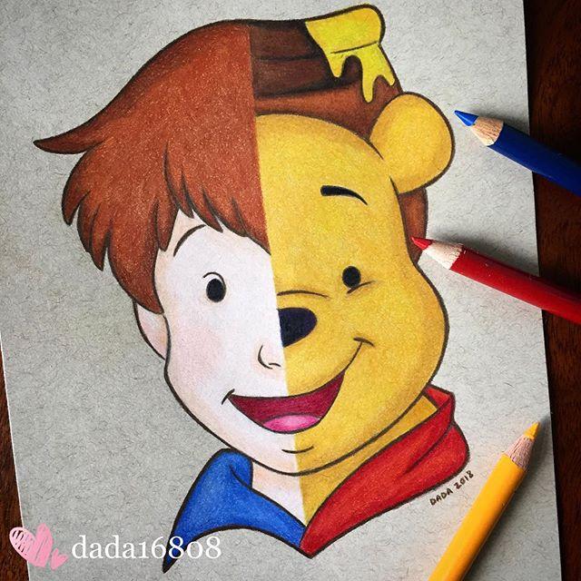 Dibujo realizado por la artista dada16808 combinando a los personajes Disney, Christopher Robin y Winnie Pooh