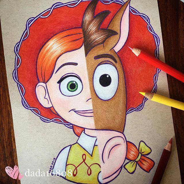 Dibujo realizado por la artista dada16808 combinando a los personajes Disney, Jessie y Tiro al blanco