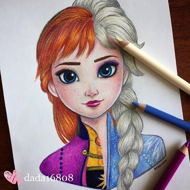Dibujo realizado por la artista dada16808 combinando a los personajes Disney, Elsa y Anna