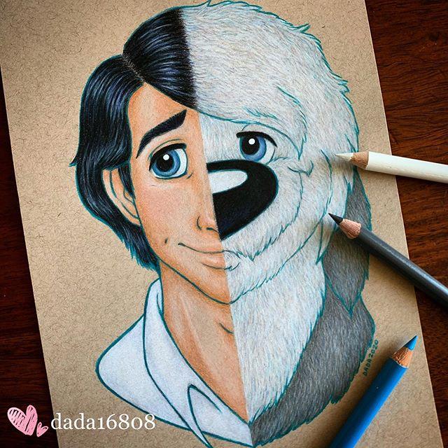 Dibujo realizado por la artista dada16808 combinando a los personajes Disney, el príncipe Eric y su perro