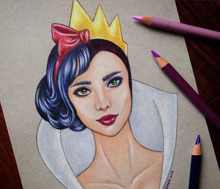 Dibujo realizado por la artista dada16808 combinando a los personajes Disney, Blancanieves y la bruja malvada