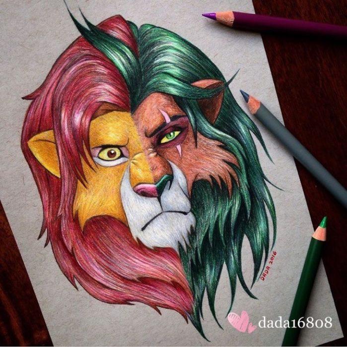 Dibujo realizado por la artista dada16808 combinando a los personajes Disney, Simba y Scar