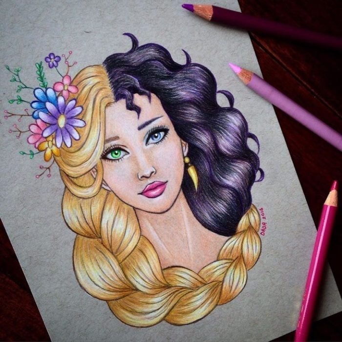 Dibujo realizado por la artista dada16808 combinando a los personajes Disney, Rapunzel y Madre Gothel