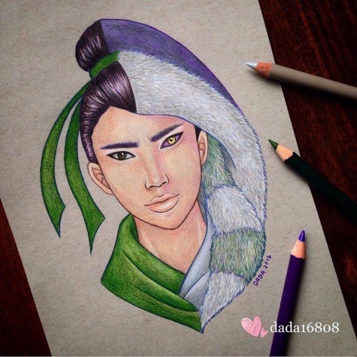 Dibujo realizado por la artista dada16808 combinando a los personajes Disney, Mulán y Shan Yu