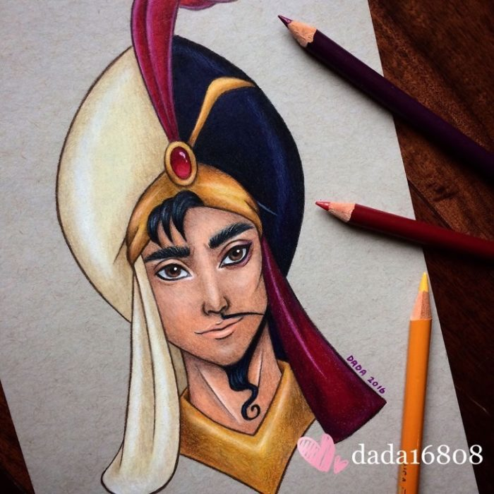 Dibujo realizado por la artista dada16808 combinando a los personajes Disney, Aladdín y Jafar