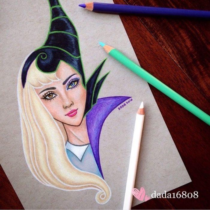 Dibujo realizado por la artista dada16808 combinando a los personajes Disney, Aurora y Maléfica