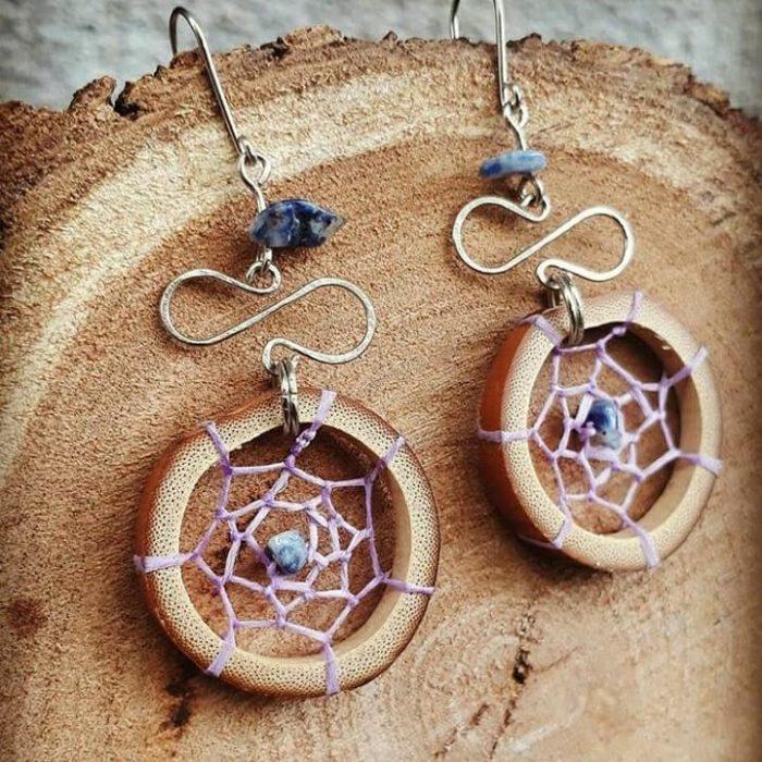 Aretes con piedras azurita