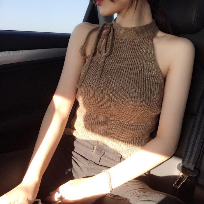 Brown halter blouse