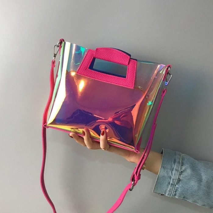 Small litmus handbag with fuchsia pink details