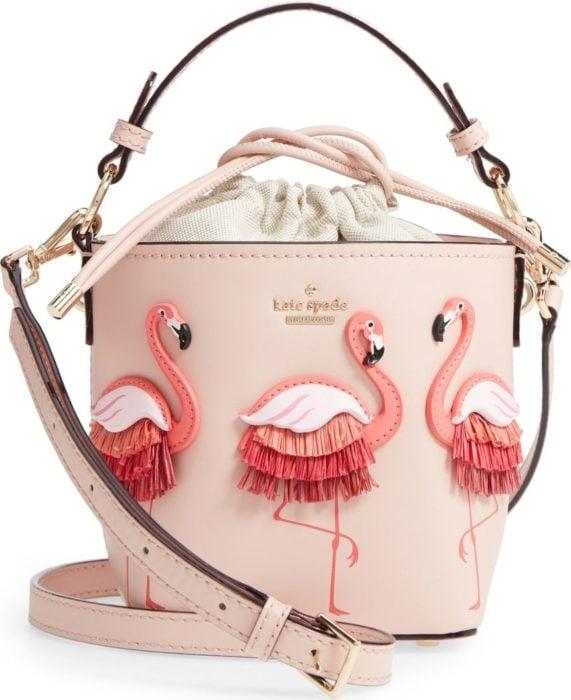 Small pink handbag with flamingo decoration, bucket bag type