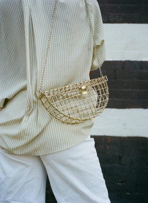 Small gold color mesh bag