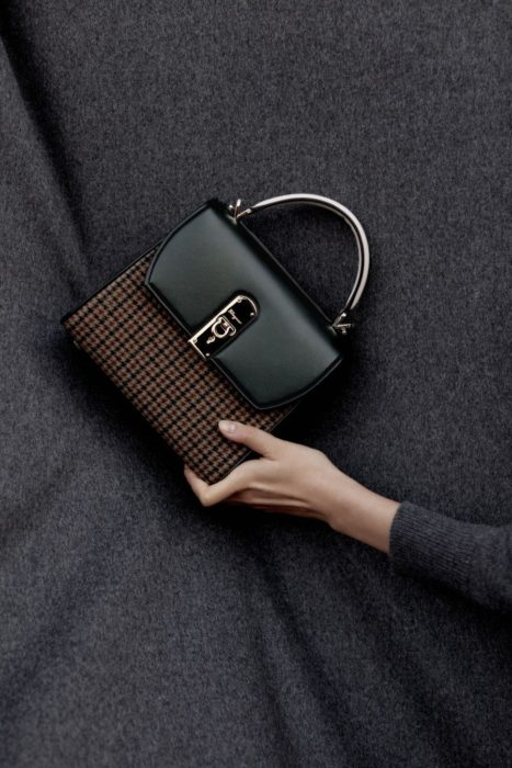 Small check print handbag with black flap