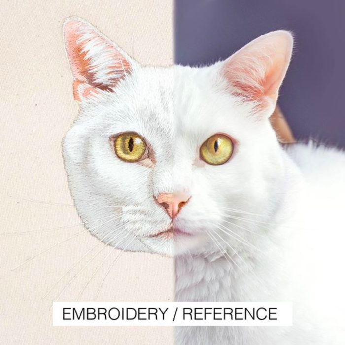 Artista Michelle Staub hace bordados de mascotas; bordado de gato blanco con ojos amarillos