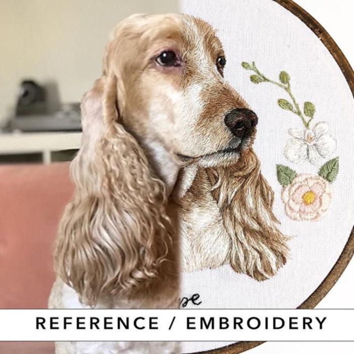 Artista Michelle Staub hace bordados de mascotas; bordado de perro cocker spaniel dorado con flores rosas y blancas