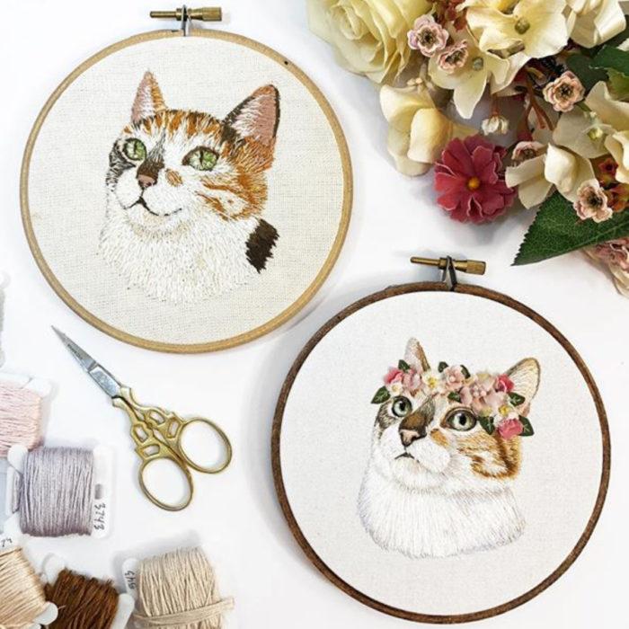 Artista Michelle Staub hace bordados de mascotas; bordado de gatos, antes y después