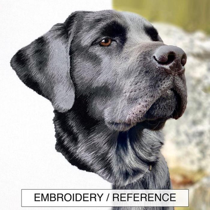 Artista Michelle Staub hace bordados de mascotas; bordado de perro labrados negro