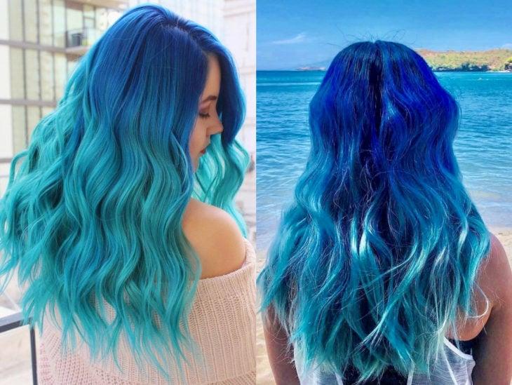 Blue balayage; cabello teñido de azul degradado que parece el océano