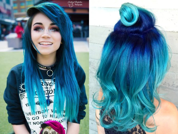 Blue balayage; gradient blue dyed hair that looks like the ocean