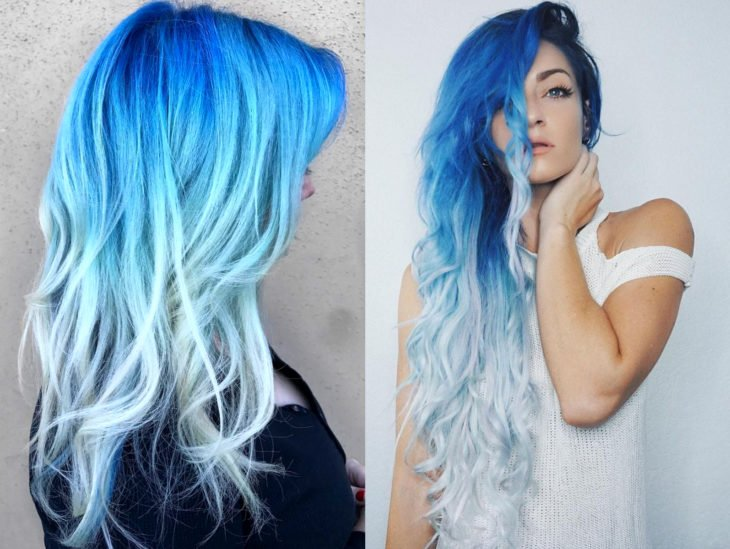 Blue balayage; hair dyed from gradient blue to white that looks like the ocean