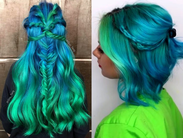Blue balayage; hair dyed from blue to green gradient that looks like the ocean