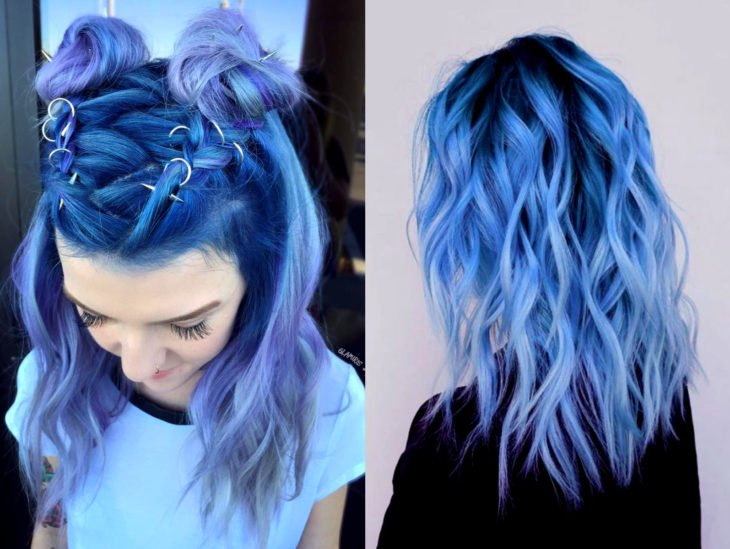 Blue balayage; blue gradient lilac dyed hair that looks like the ocean